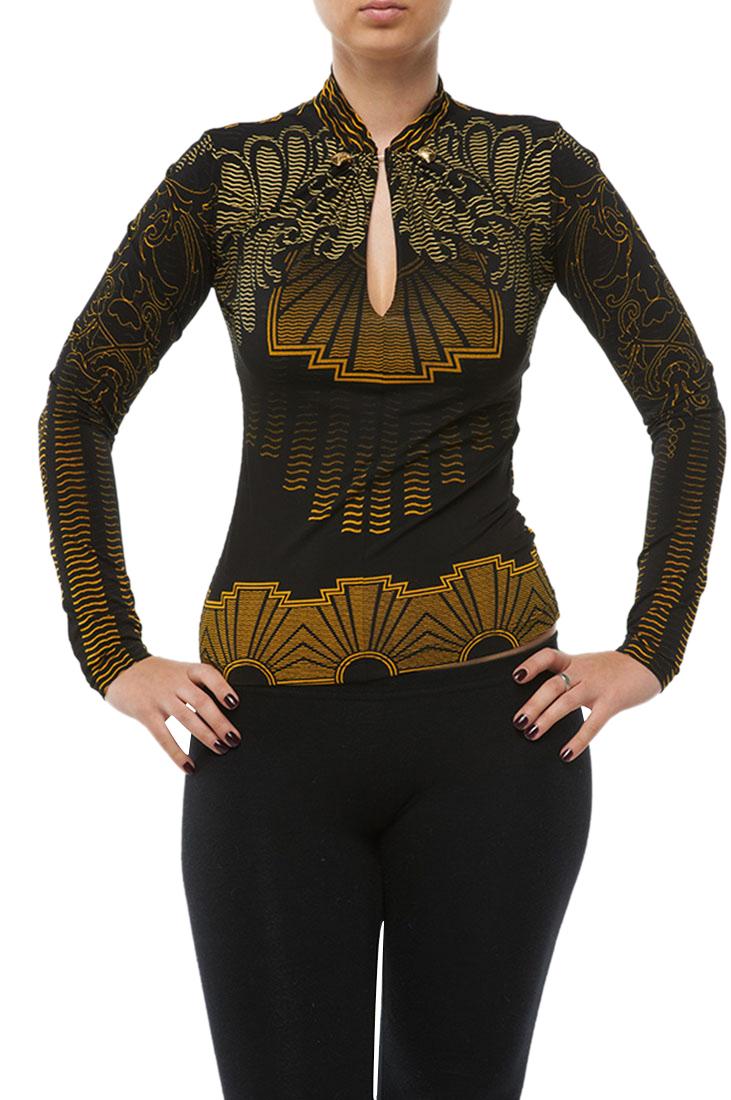 Roberto Cavalli Top Blouse Shirt Black/Yellow