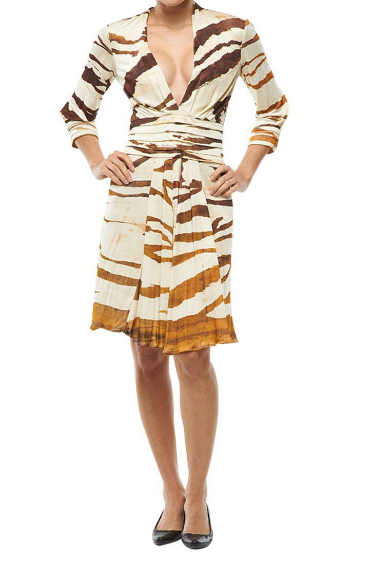 Roberto Cavalli VNeck Dress Cream/Brown
