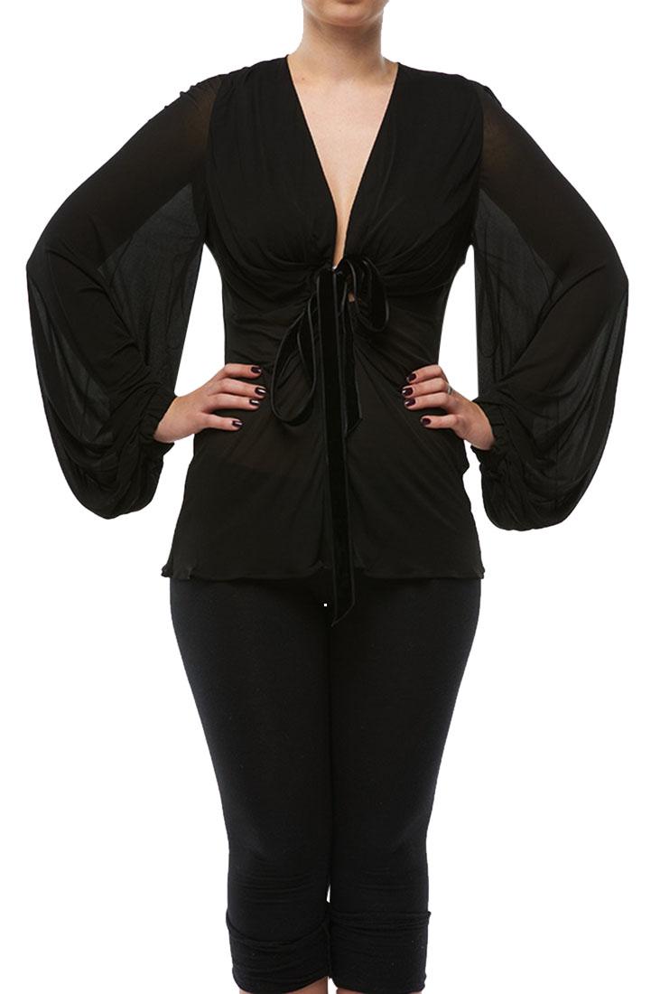 Roberto Cavalli Wide sleeves Sheer Shirt Black