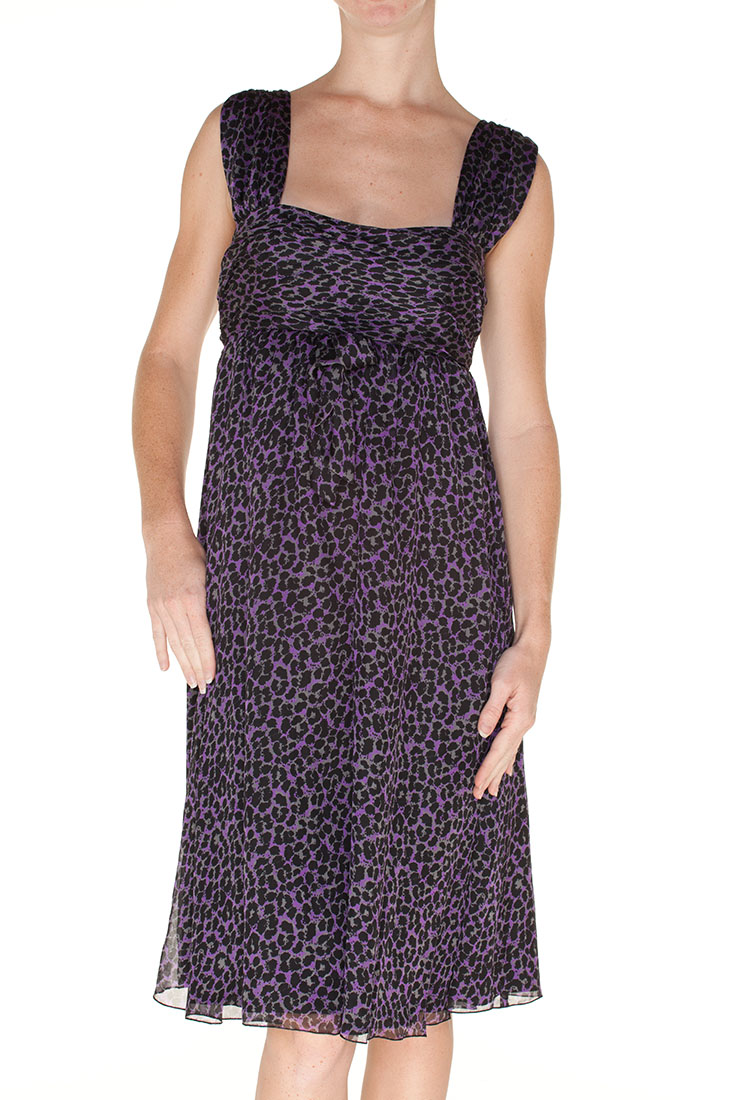 Armani Collezioni Purple Silk Knee Length Dress