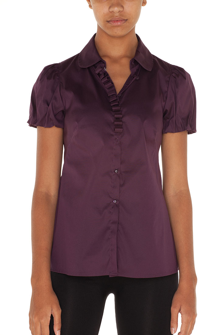 Armani Collezioni Purple Cotton Short Sleeve Top Blouse