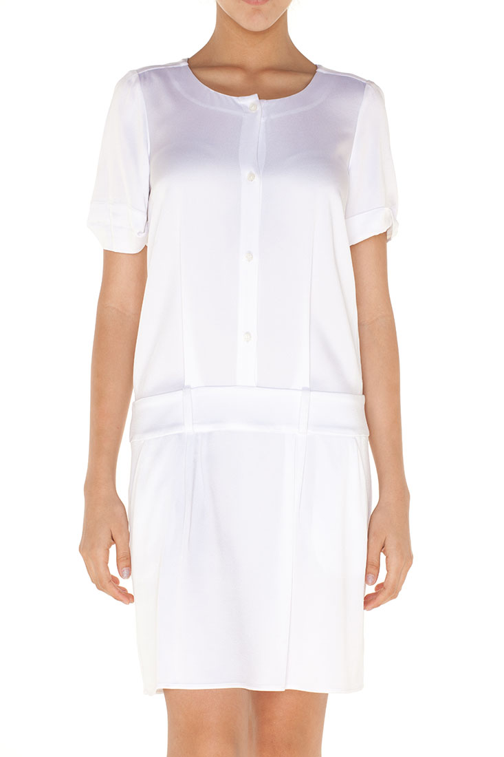 Emporio Armani WHITE Acetate Knee Length Dress