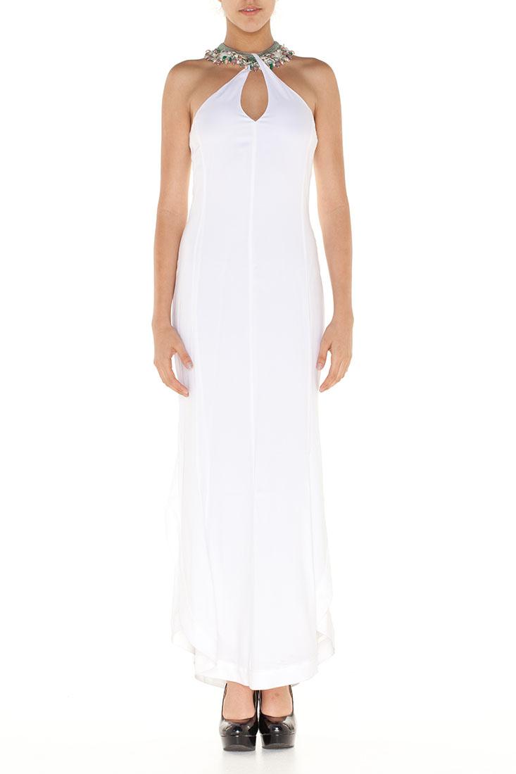 Emporio Armani WHITE Viscose Long Dress