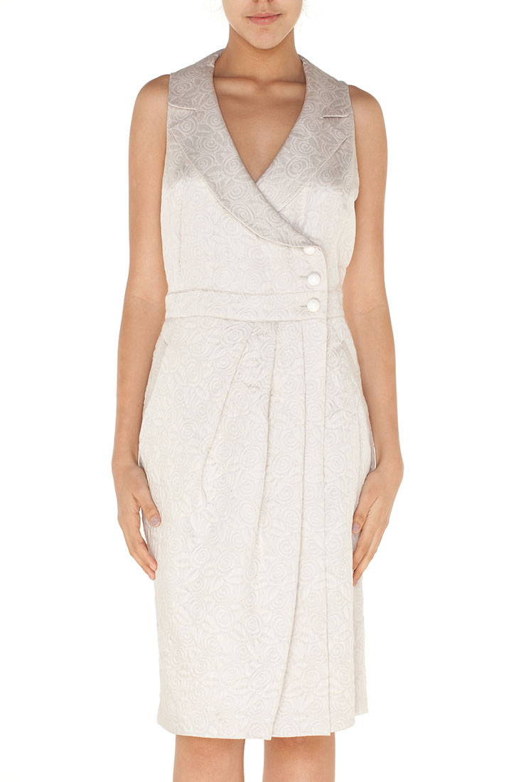 Armani Collezioni BEIGE Silk Knee Length Dress