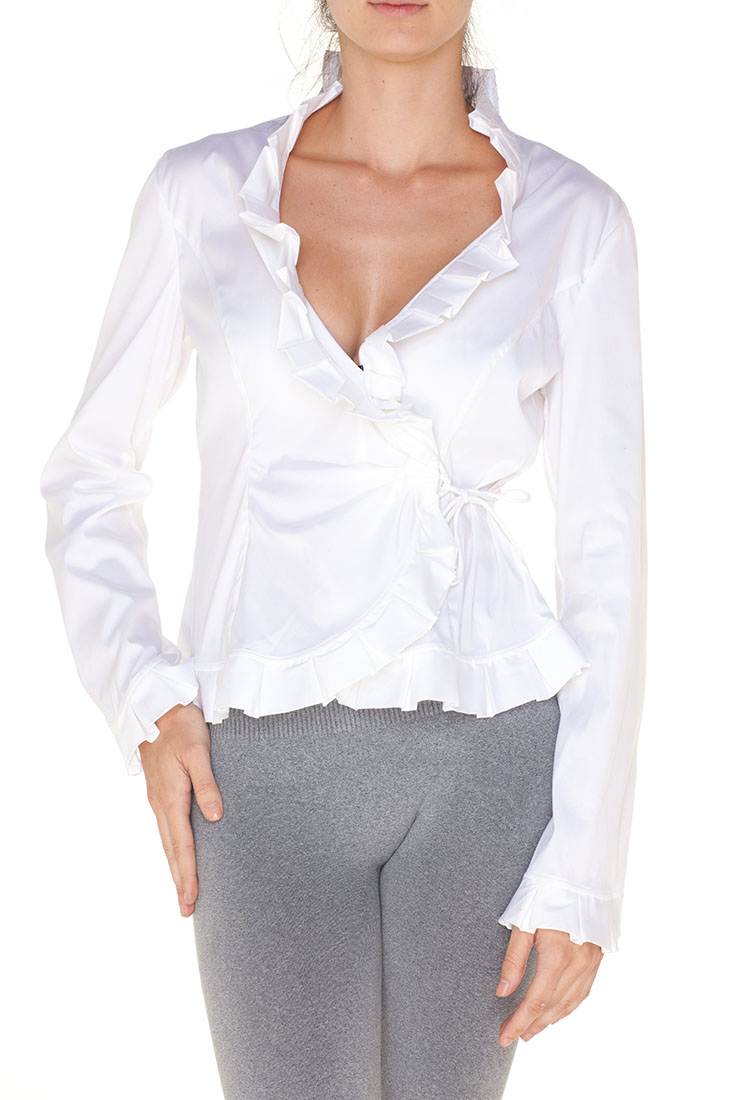 Armani Collezioni White Cotton Long Sleeve Top