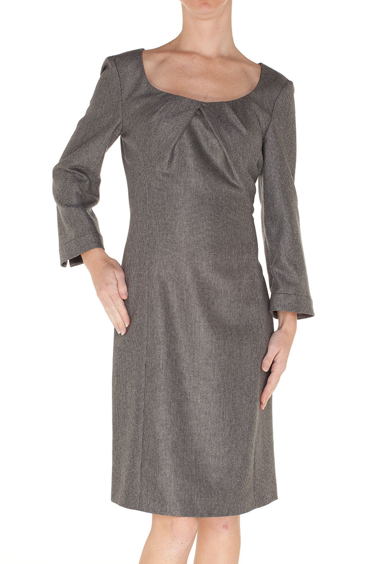 Armani Collezioni Grey Wool Knee Length Dress