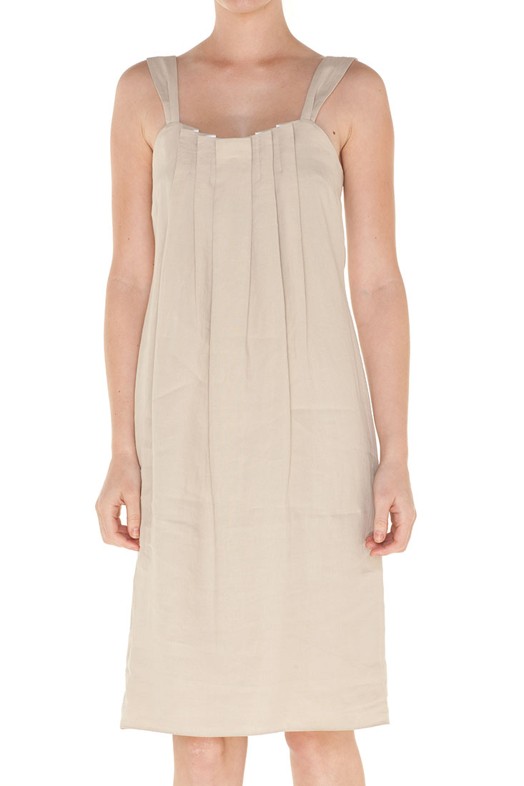 Armani Collezioni BEIGE Flax Knee Length Dress