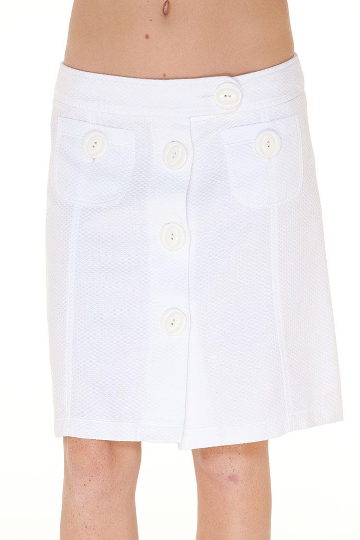 DG White Cotton Knee Length Skirt