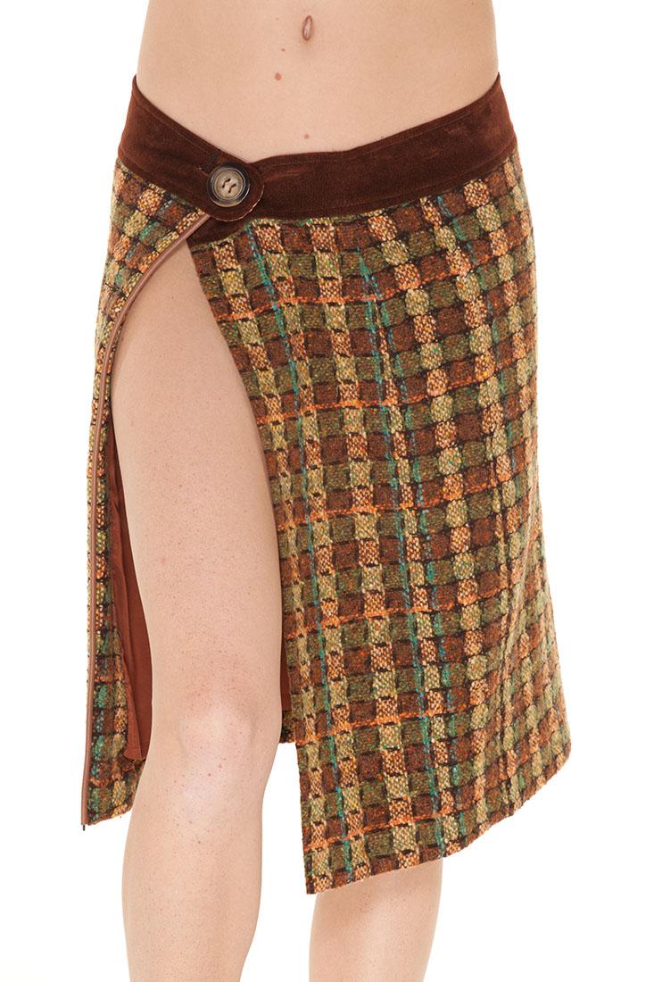 DG Brown Wool Knee Length Skirt