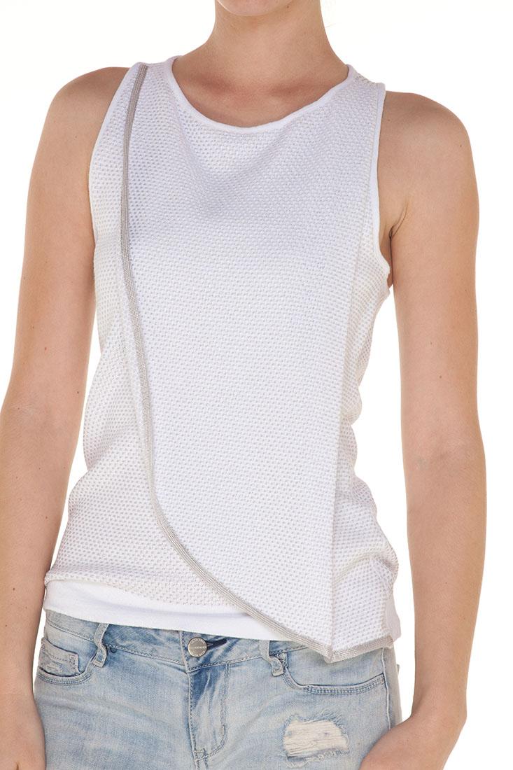 Emporio Armani WHITE Viscose Sleeveless Top Blouse