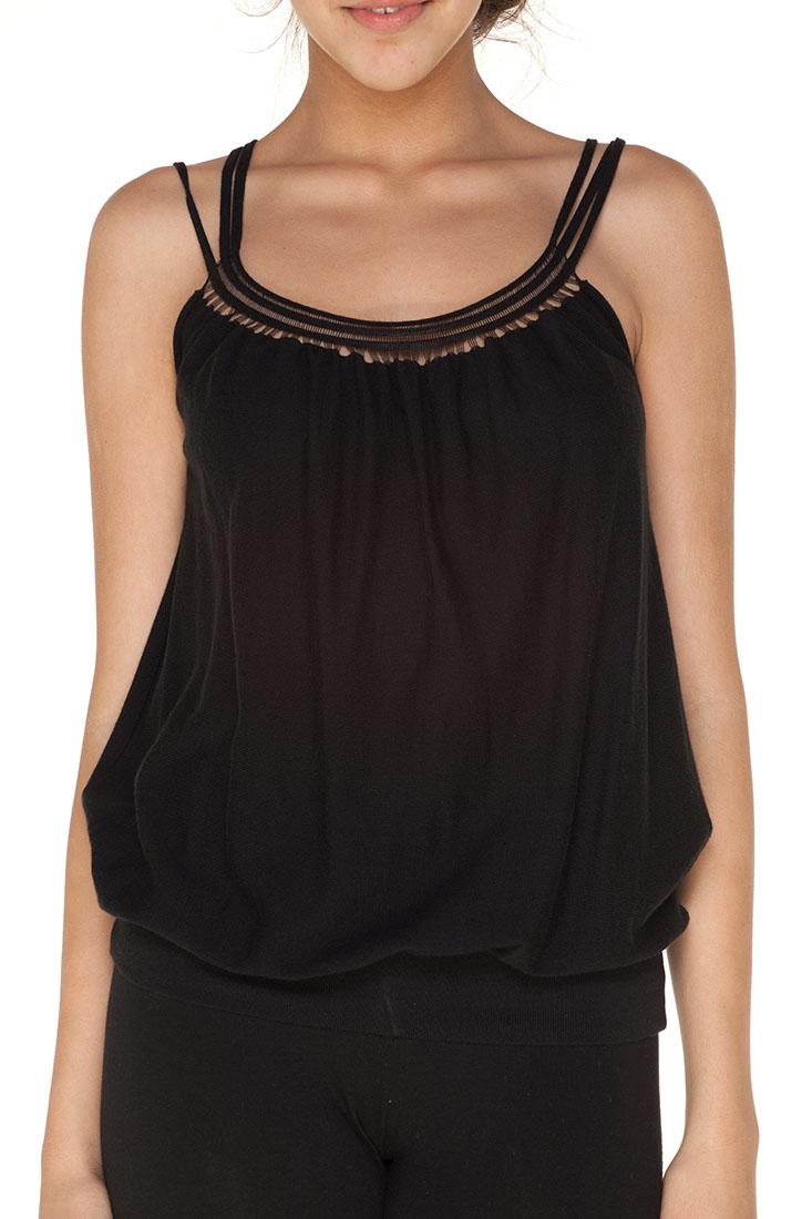 Emporio Armani BLACK Cotton Sleeveless Top Blouse