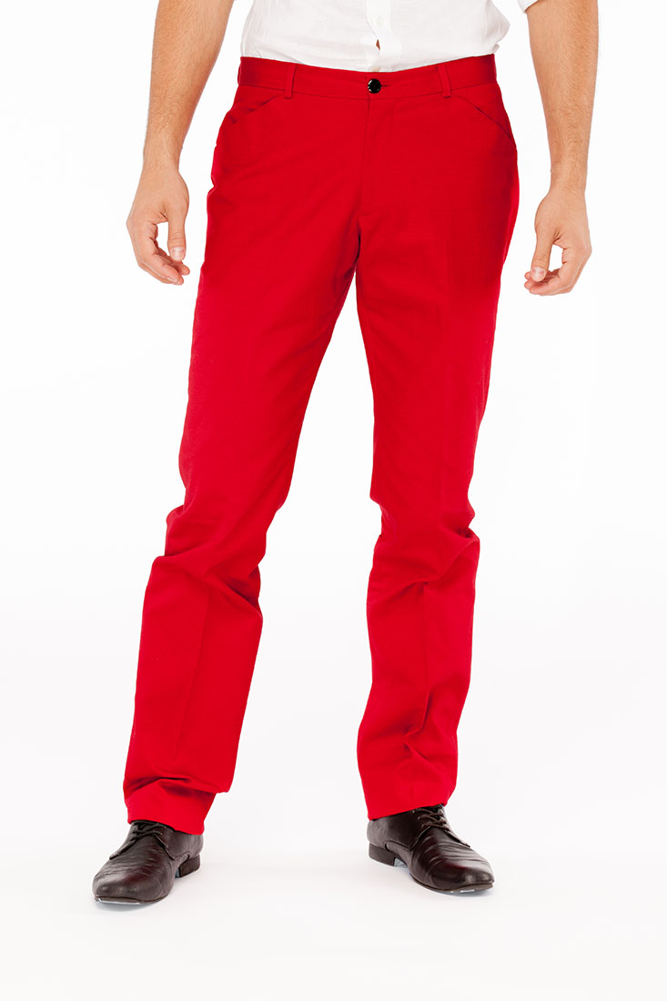 Emporio Armani Red Cotton Pants Trousers