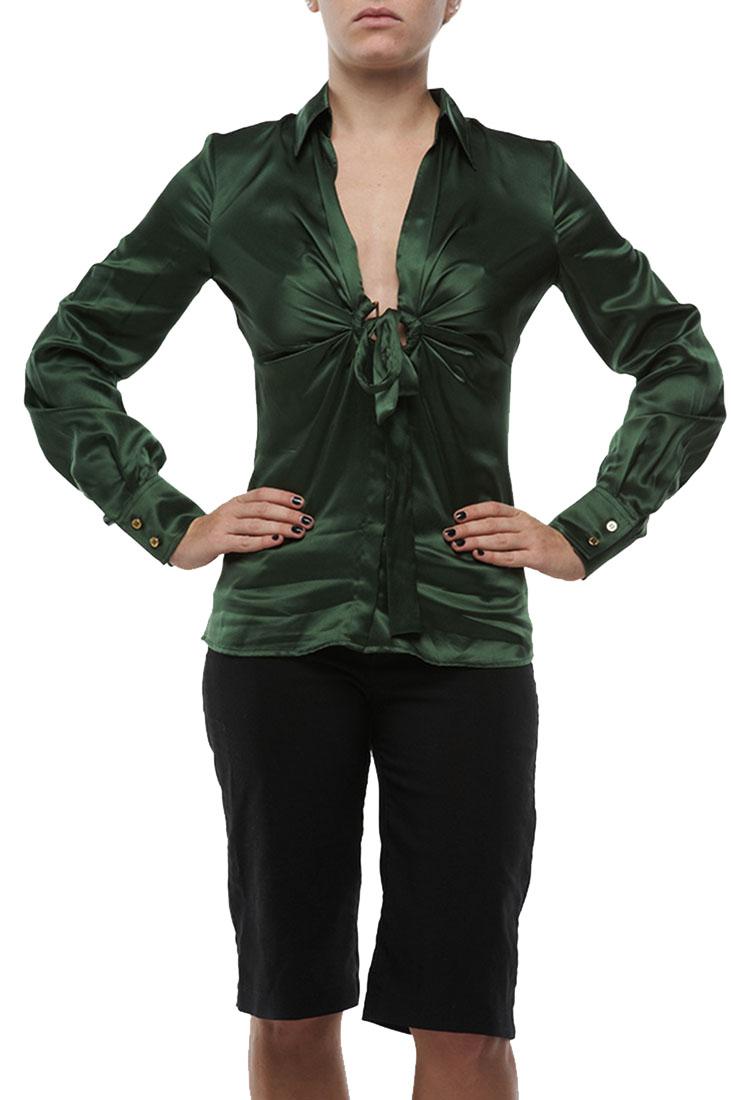 Roberto Cavalli Silk Top Blouse Shirt Green