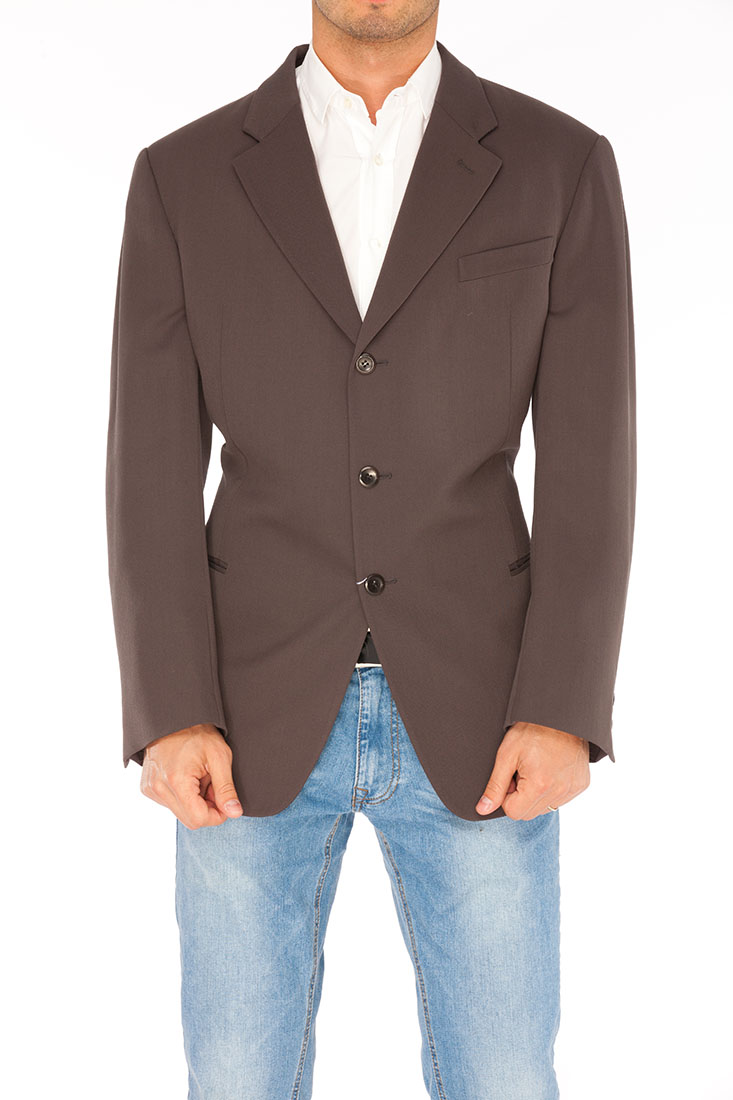 Armani Collezioni BROWN Polyester Jacket Coat