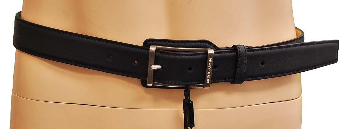 Giorgio Armani Blue Leather Belt