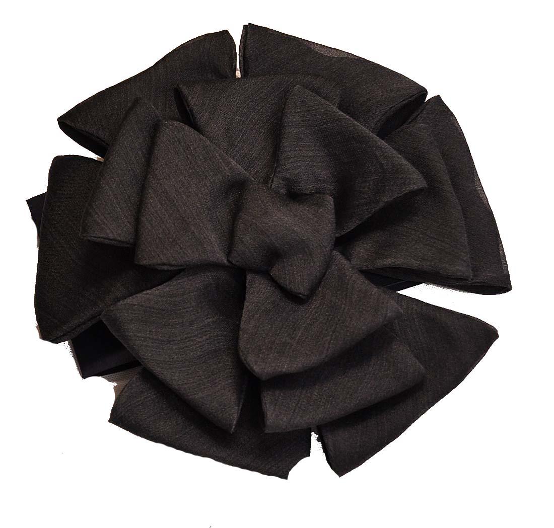Armani Collezioni GRAY Silk Brooch, One Size