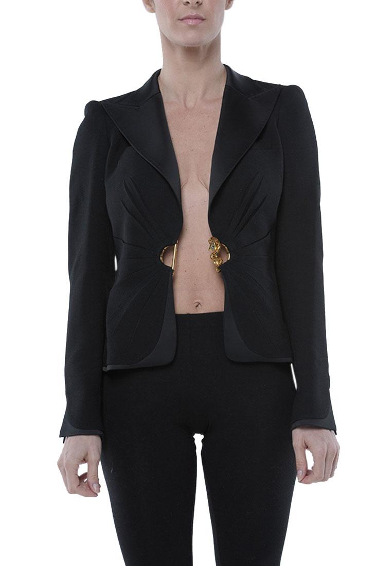 Roberto Cavalli Fitted Jacket Coat Black