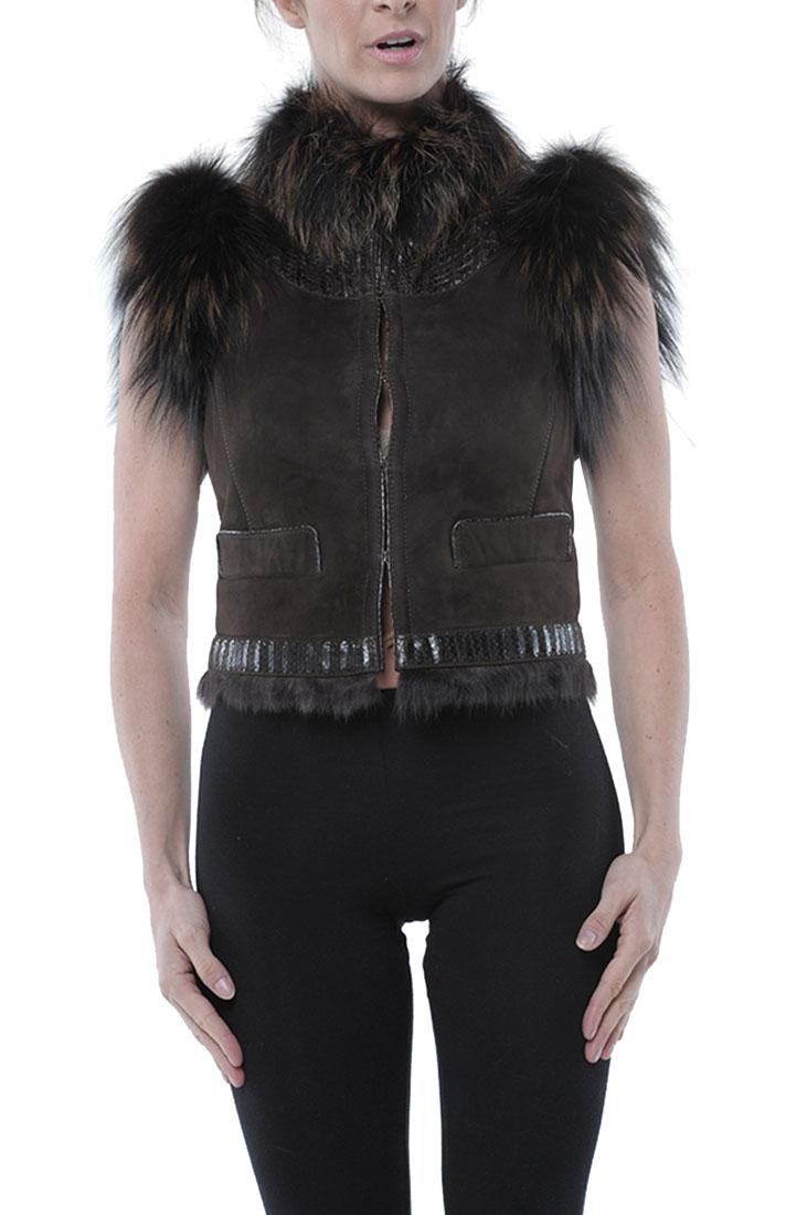 Roberto Cavalli Leather Jacket Fox Fur Brown