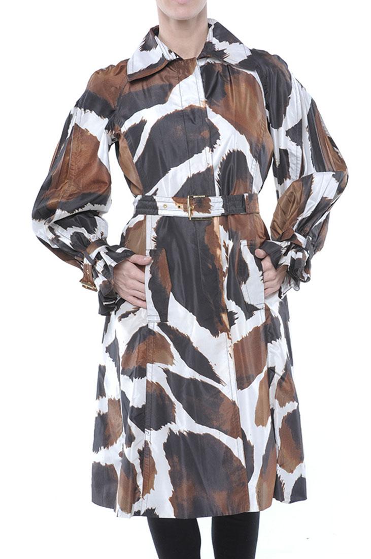 Roberto Cavalli Silk Jacket Coat Trench Brown