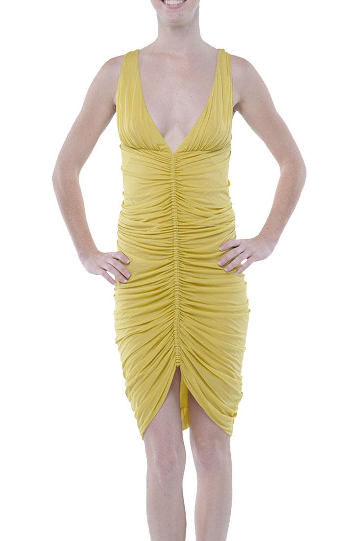 Roberto Cavalli Pleated Dress Yellow