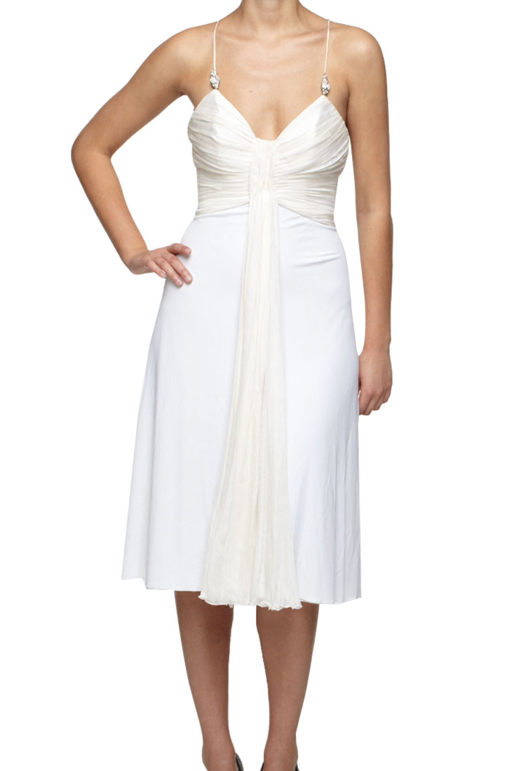 Roberto Cavalli Pleated Dress White