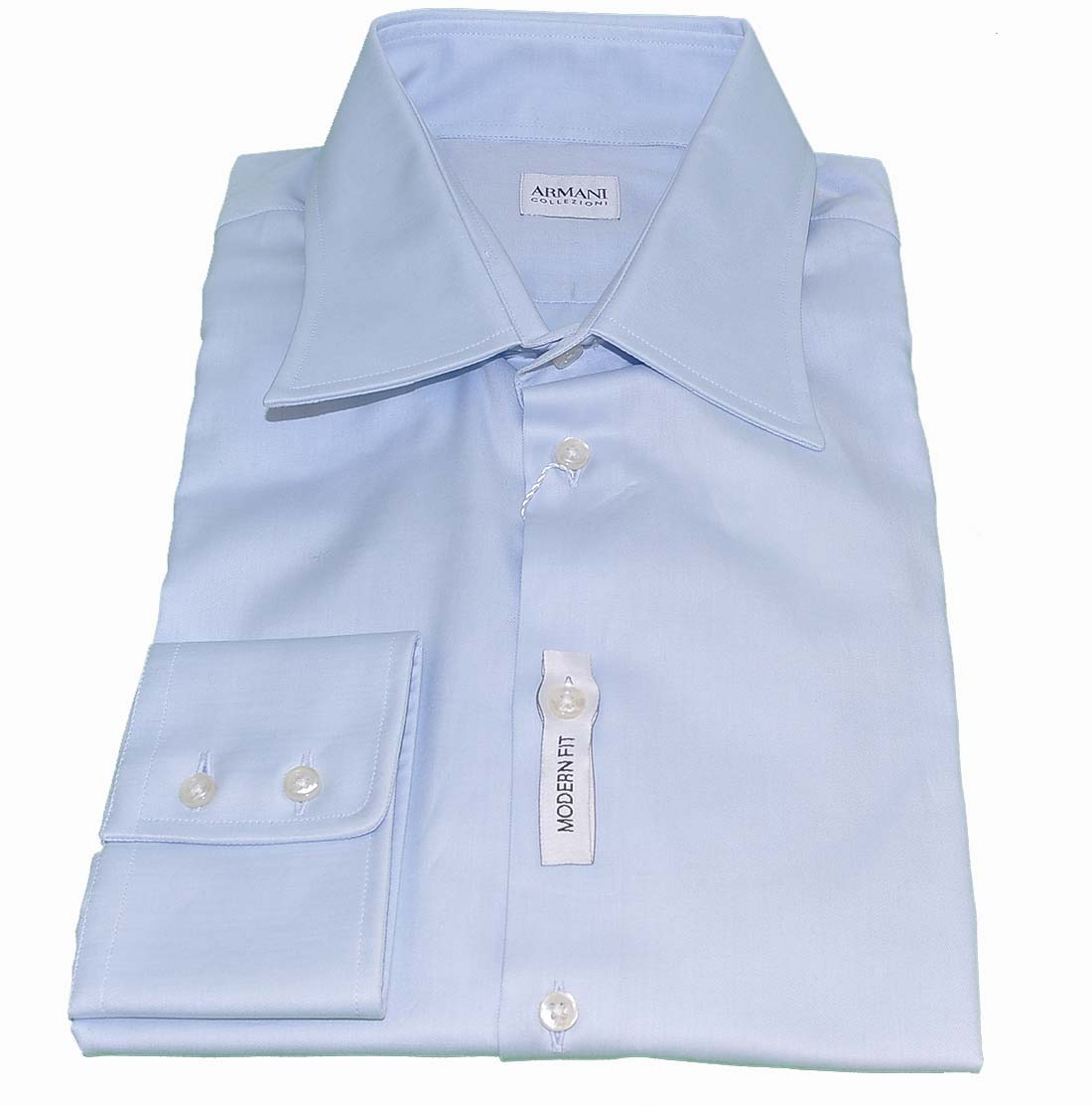 Armani Collezioni Blue Cotton Dress Shirt