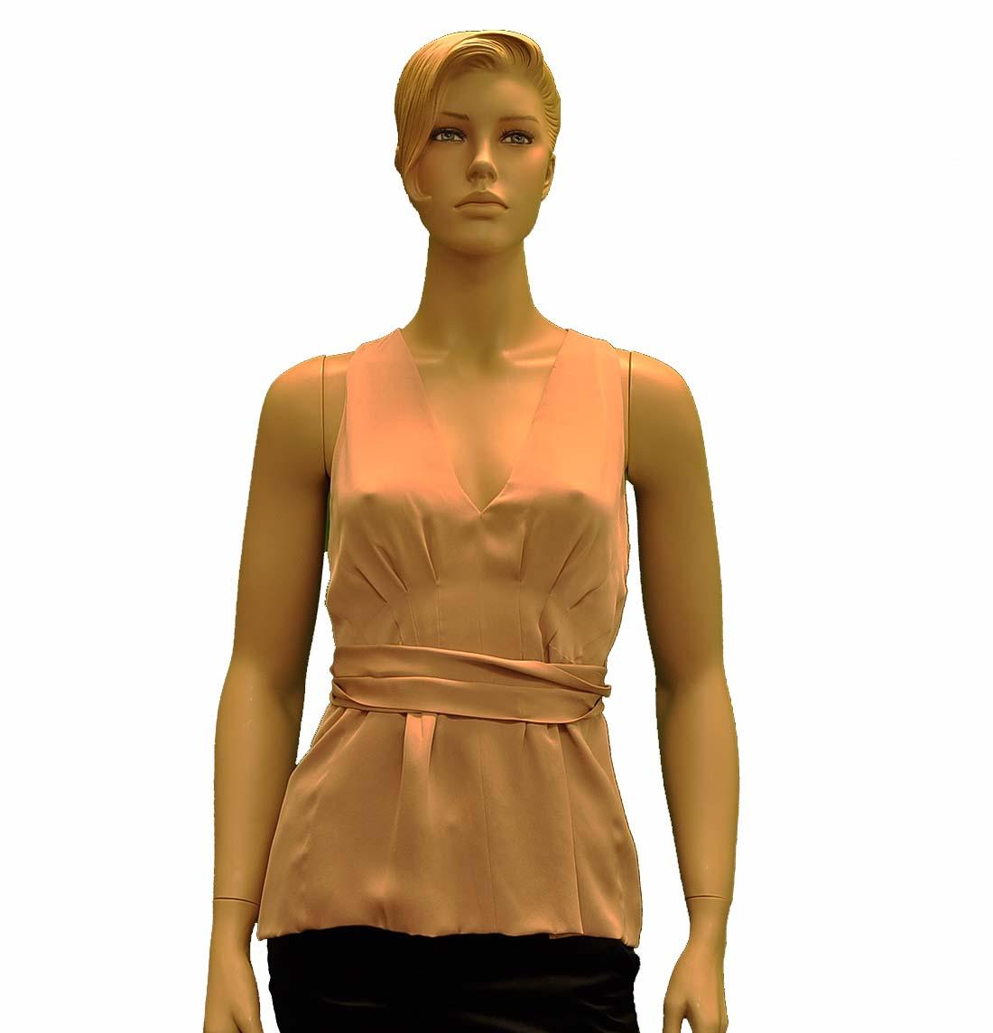 Gucci Beige Silk Sleeveless Top Blouse