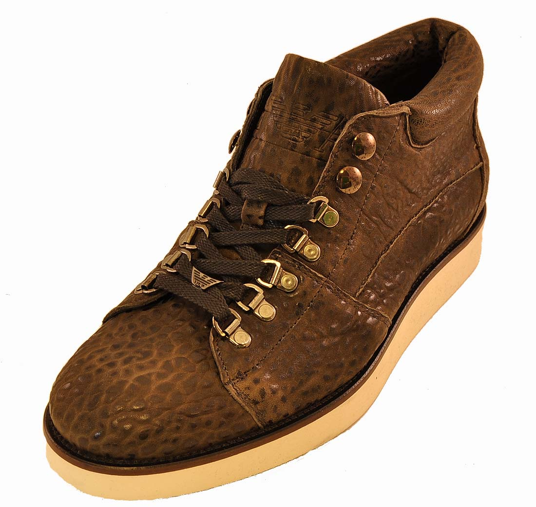 Emporio Armani Brown Leather Shoe