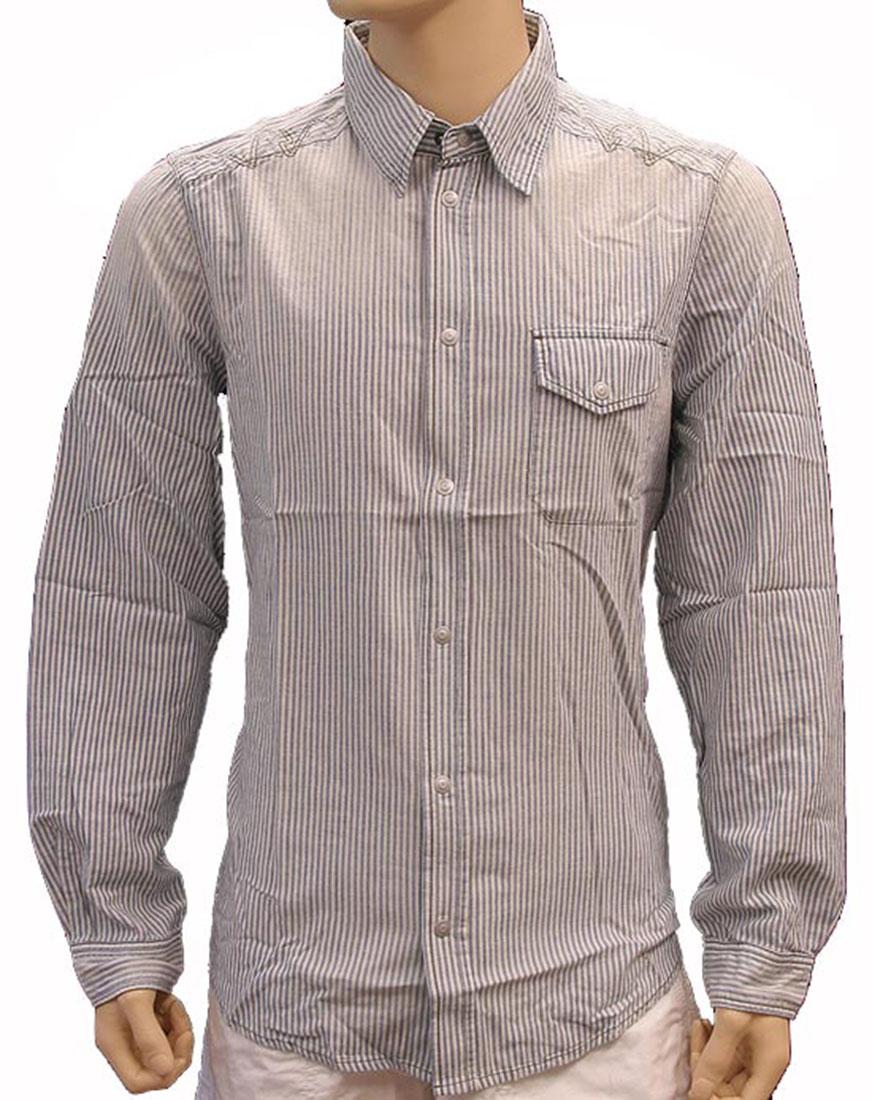 Armani Jeans Mens Top Blouse Shirt White Blue Cotton