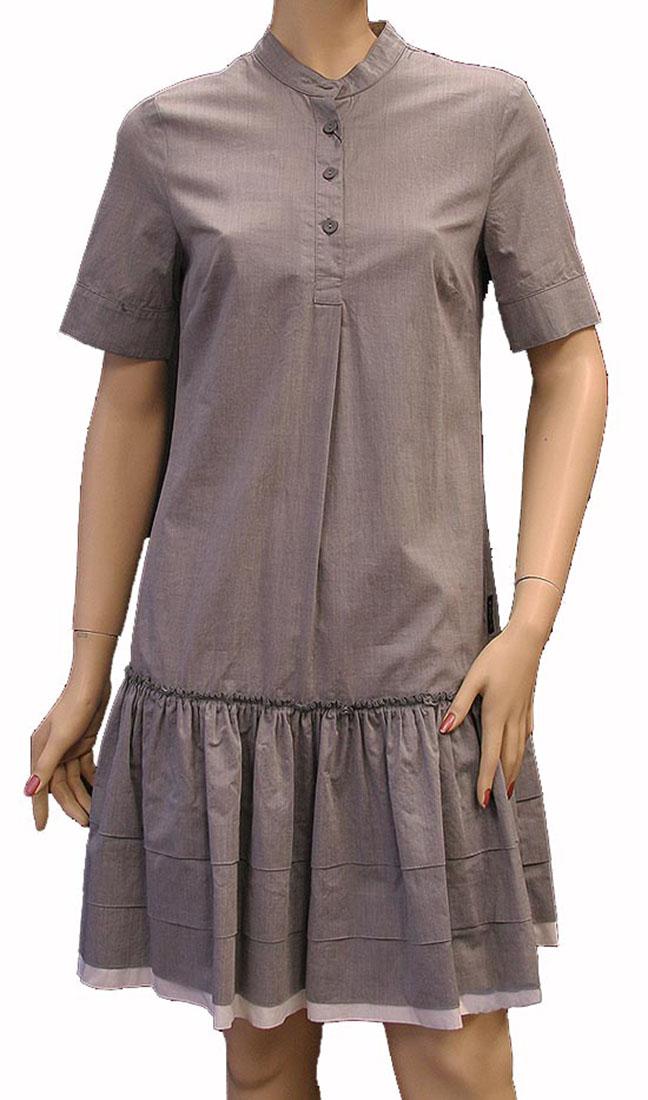 Armani Jeans Womens Knee Length Dress Light Gray Cotton