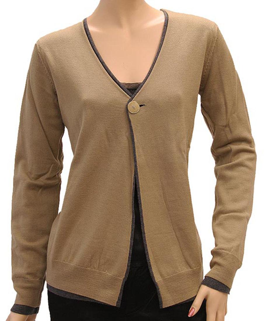 Armani Jeans Womens Sweater Beige Gray Wool