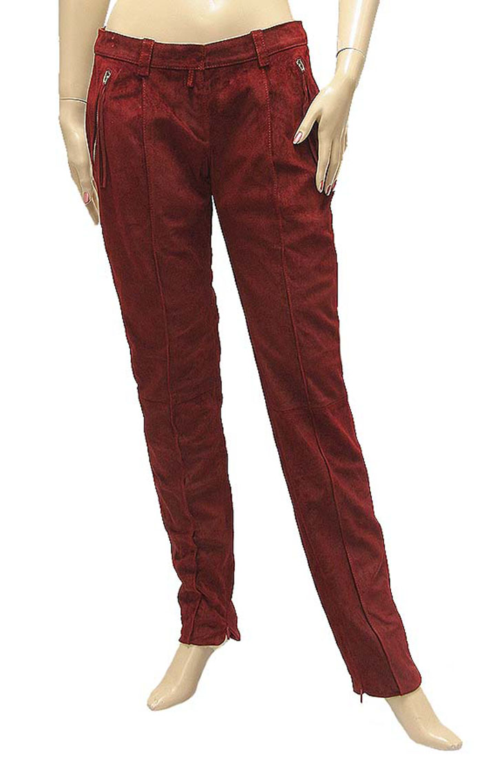 Roberto Cavalli Womens Pants Trousers Red Leather