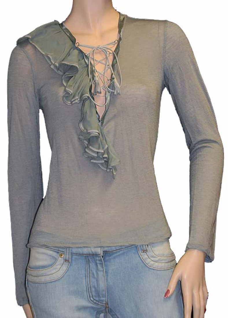 Roberto Cavalli Womens Top Blouse Shirt Gray Wool