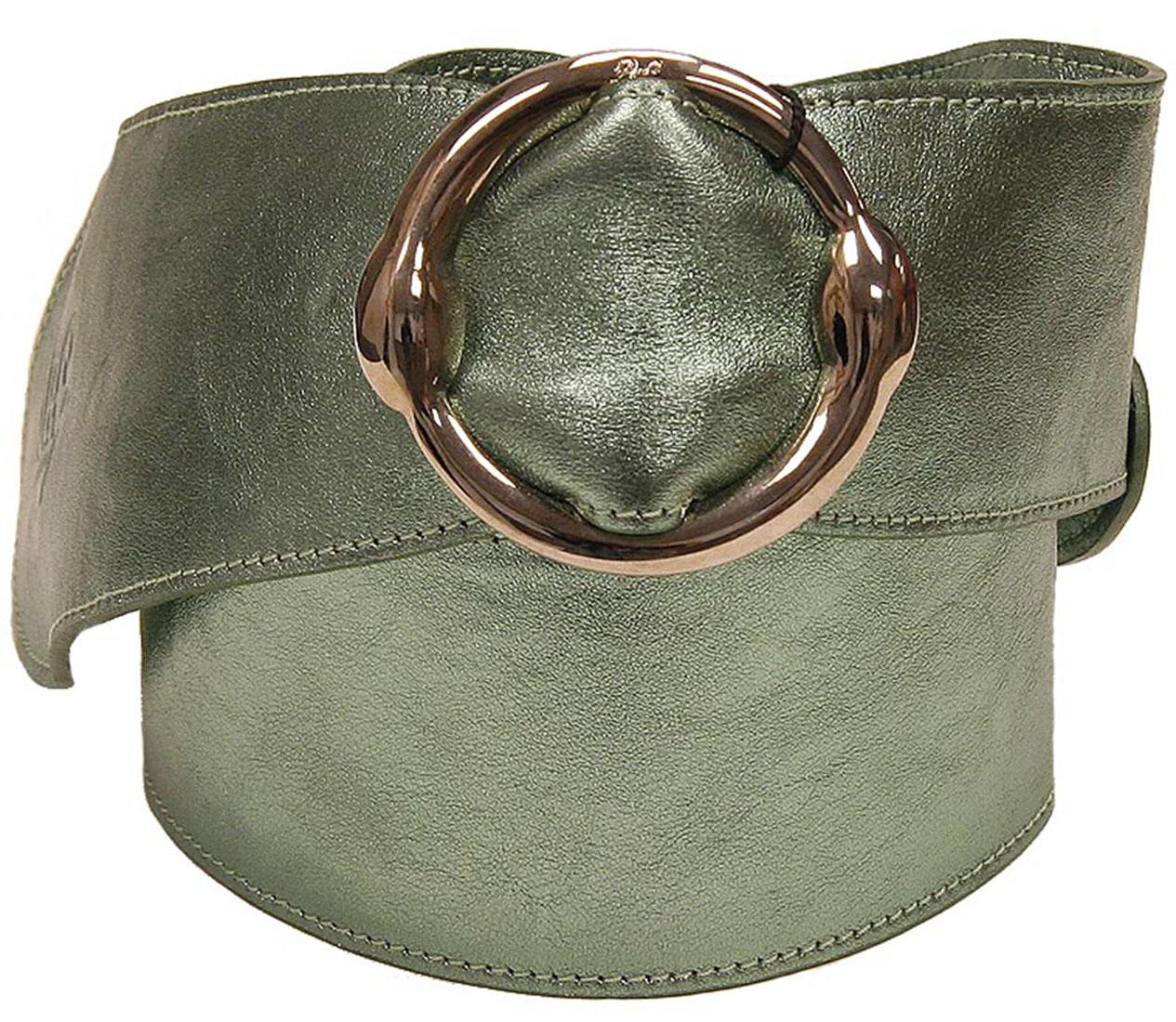 DG Womens Belt Silver Green Leather