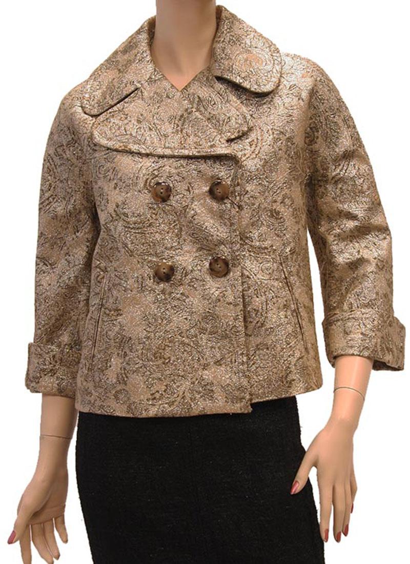 DG Womens Jacket Coat Gold Cotton