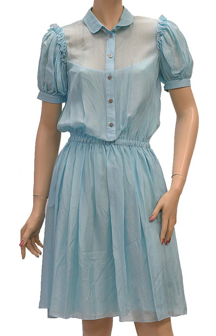 DG Womens Knee Length Dress Light Blue Silk