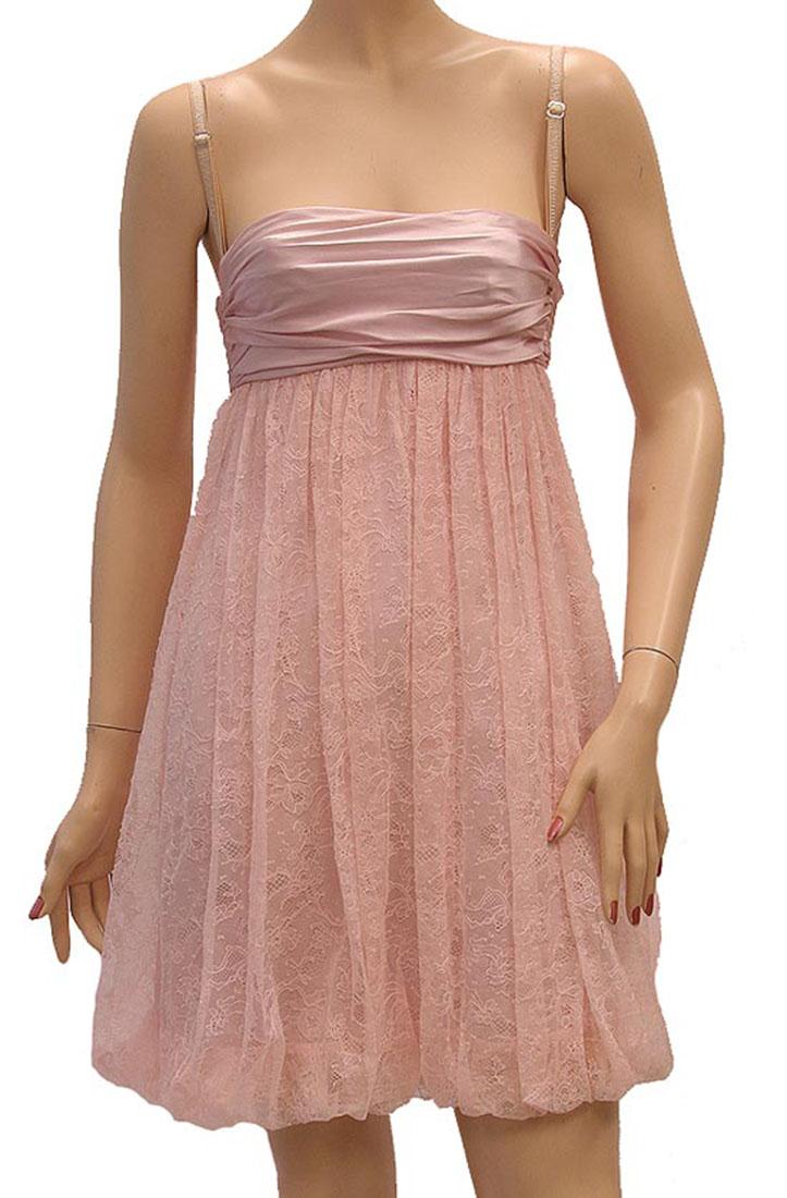 DG Womens Knee Length Dress Pink Silk