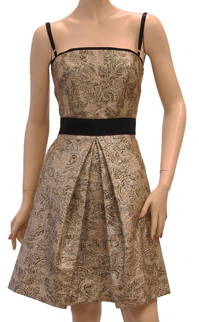 DG Womens Knee Length Dress Gold Cotton