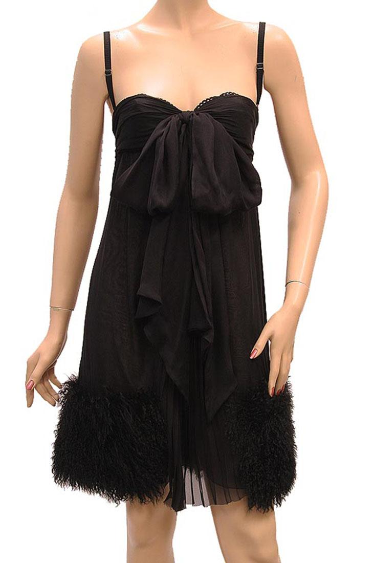 DG Womens Knee Length Dress Black Fur