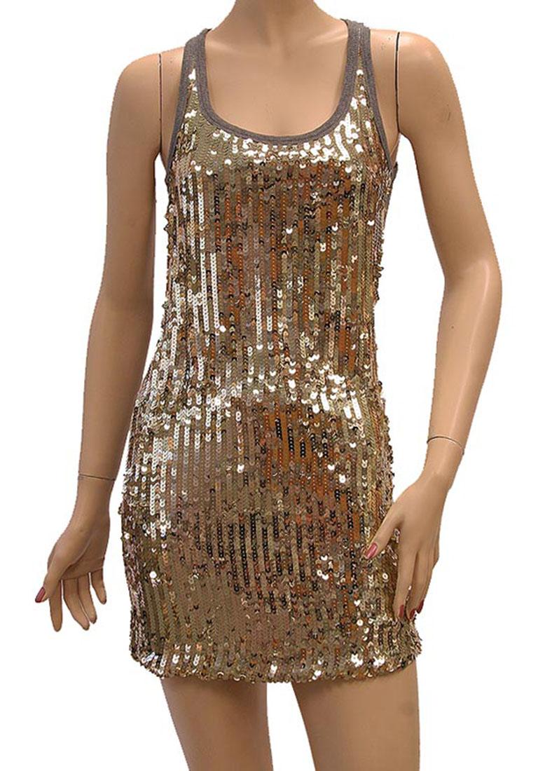 DG Womens Mini Dress Gray Gold Silk