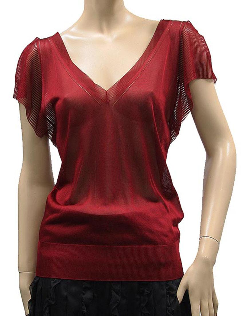 Dark Red Silk Blouse 96
