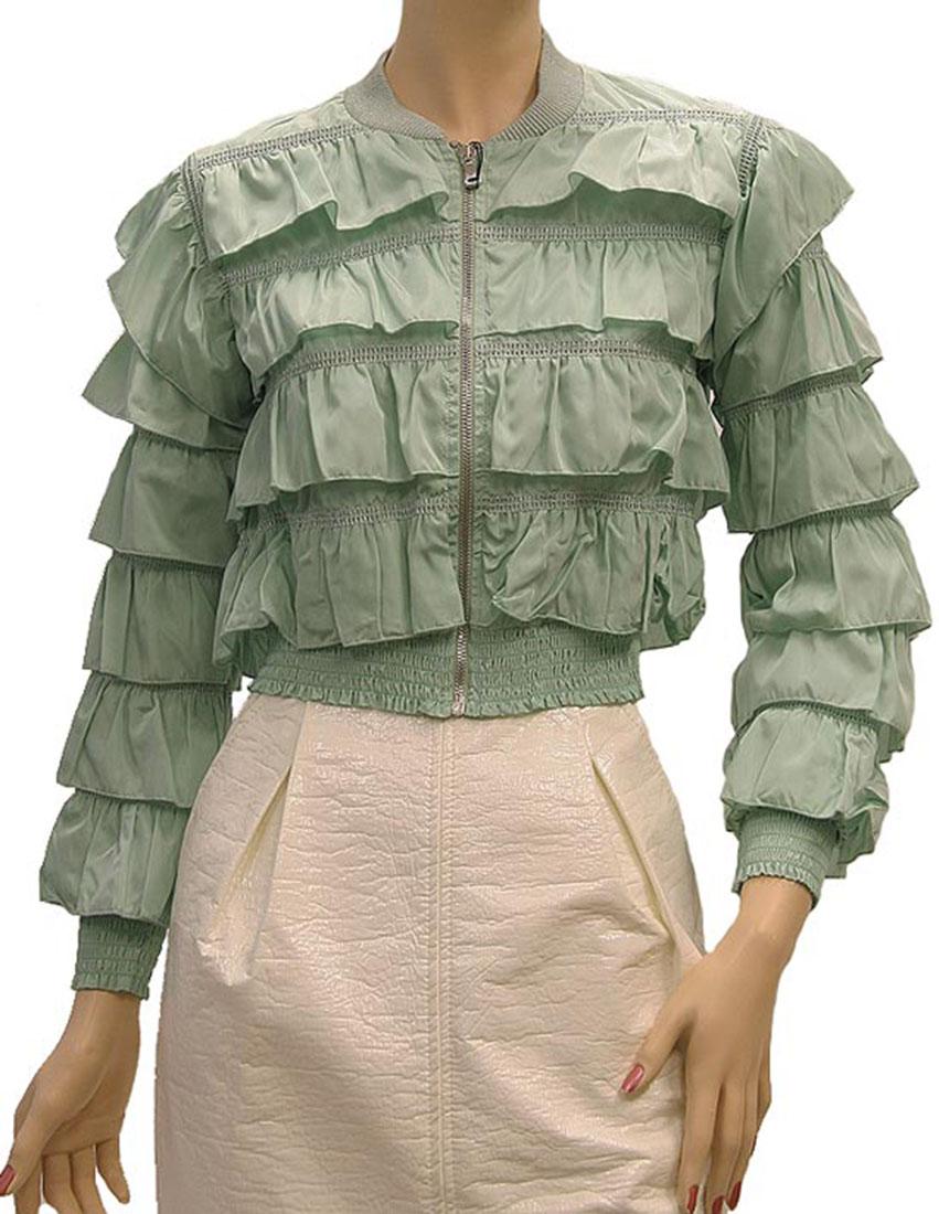 DG Womens Jacket Coat Moss Green Silk