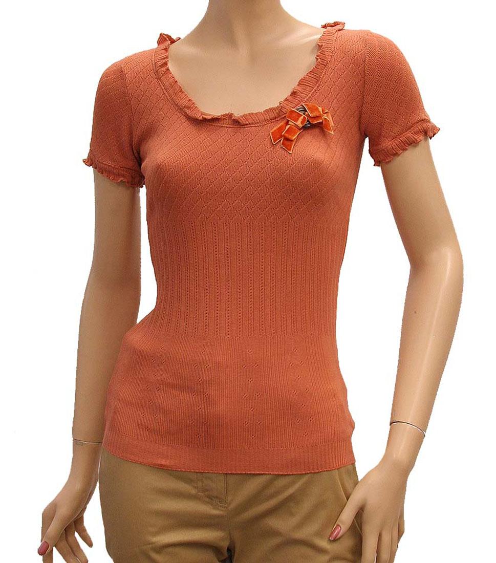 DG Womens Top Blouse Shirt Orange Cotton
