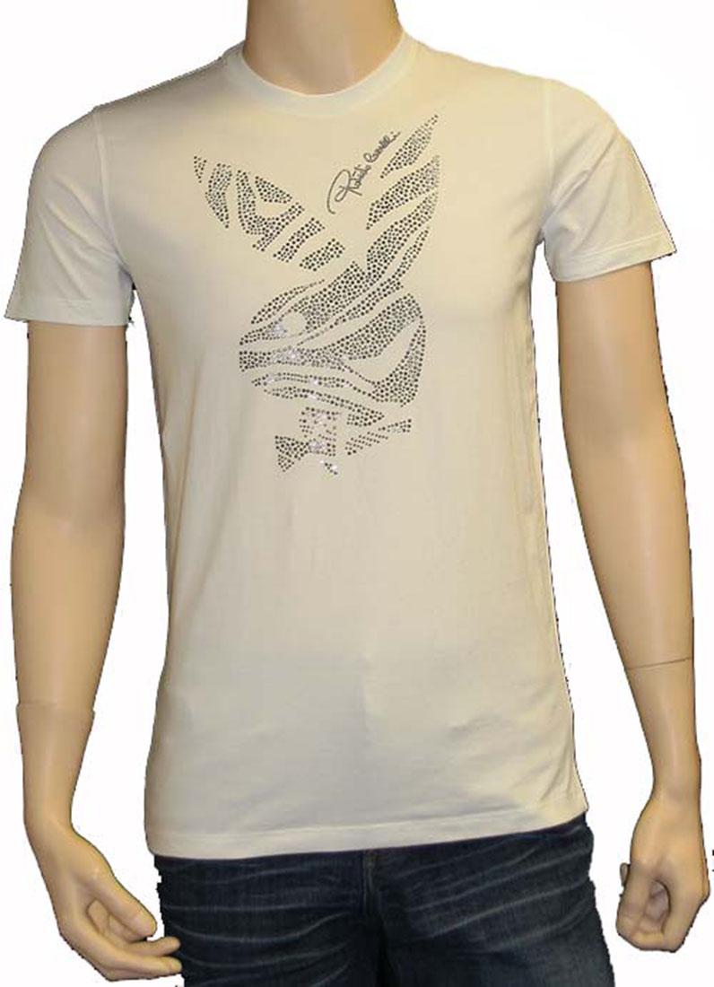 Roberto Cavalli Mens Top Blouse Shirt White Cotton