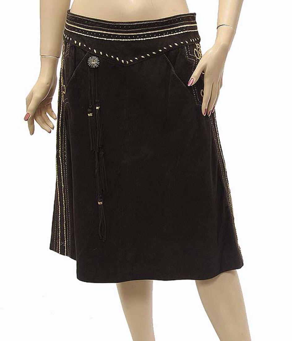 Roberto Cavalli Womens Skirt Brown Leather