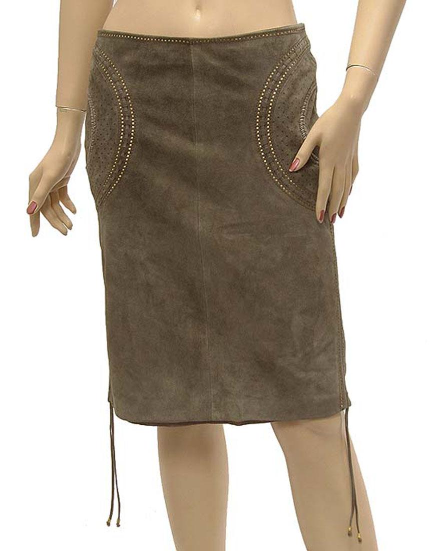 Roberto Cavalli Womens Skirt Green Leather