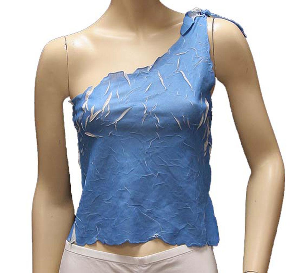 Agostino Martinez Womens Top Blouse Shirt Light Blue