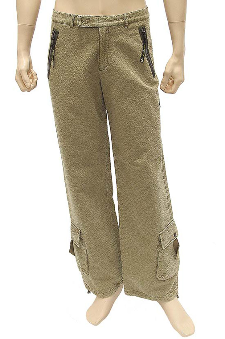 Agostino Martinez Mens Pants Trousers Olive Gray Cotton